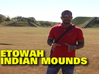 Darrell Lee standing in front of one of the Etowah Indian Mounds